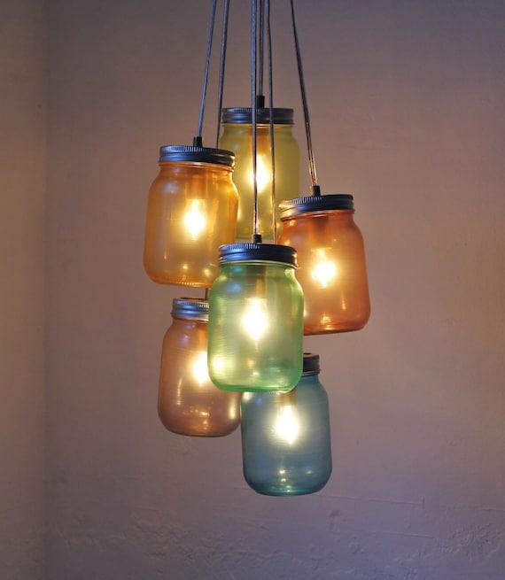 Items Similar To Over The Rainbow Mason Jar Chandelier