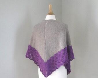 Hand Knit Shawl Wrap, Brown & Purple, Lace Shawl with Border, Light Weight, Luxury Natural Fiber, Prayer or Wedding, Merino Wool Silk