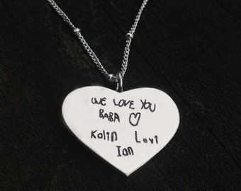 Children's Signatures Actual Handwriting Heart Necklace Sterling Silver NuGold