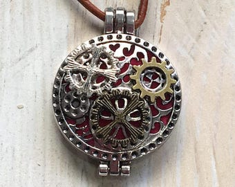 Steampunk Locket Pendant Necklace, Essential Oil, Aromatherapy, Homeopathic Jewelry