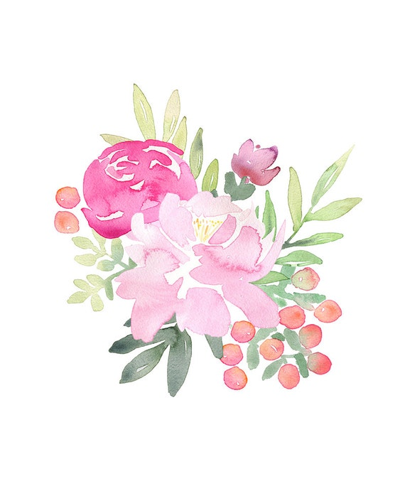 pink peonies hand painted clipart pink floral two bouquets rh etsy com white peony clip art peony border clip art