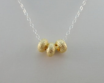 Gold Bead & Sterling Silver Chain Necklace