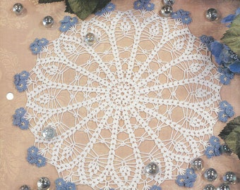 Forget Me Nots Crochet Doily Pattern, Centerpiece, Cotton Thread Lace Crochet Doilies, Home Decor, Table Topper, Kitchen Decor