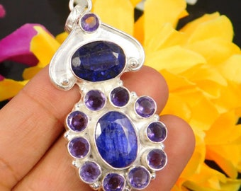Dyed Blue Sapphire and Iolite Gemstone Jewellery Handmade Pendant
