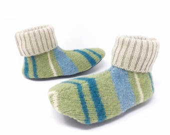 Waldorf Preschool Slippers, Toddler Medium, Wool Sweater Slippers, Shoe Size 3-5,  Winter Shoes, Non Slip Grippy Bottom, Machine Washable