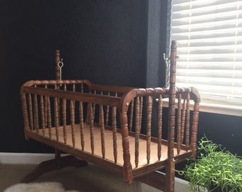 vintage wooden rocking jenny lind baby crib / spindle