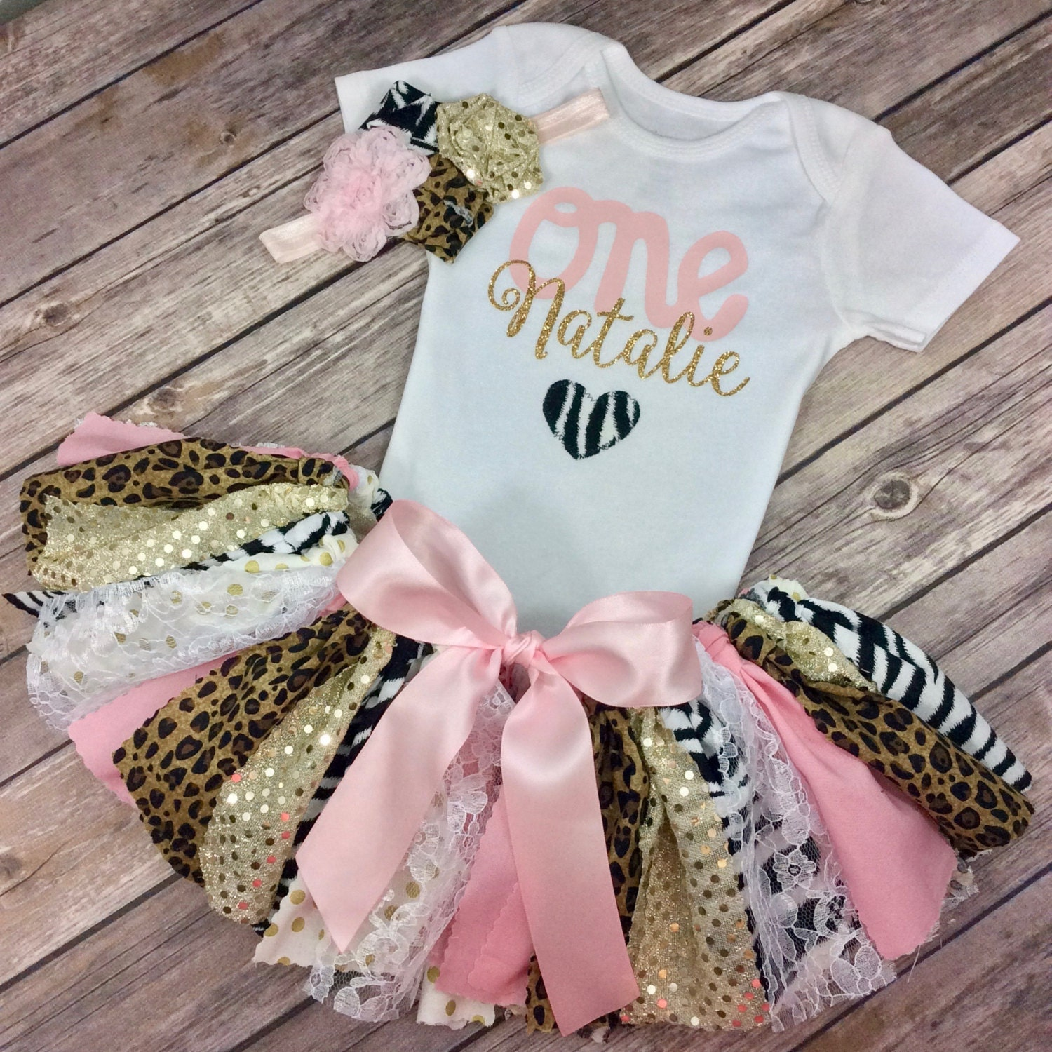 Pink and Gold Glitter Animal Print Personalized Birthday