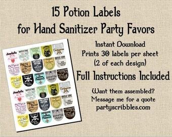 15 Wizard Potion Party Favor DIY Labels INSTANT DOWNLOAD