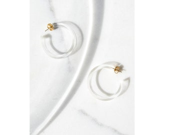 Lucite Hoops / Lucite Earrings / Minimalist Jewelry / Clear Lucite