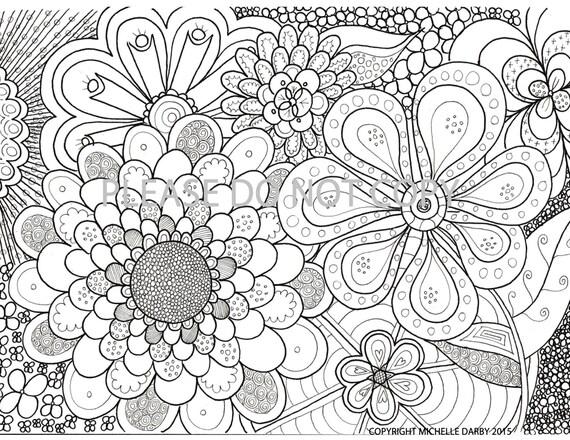 Zen Coloring Pages Pdf : Flower power zen mandala colouring page