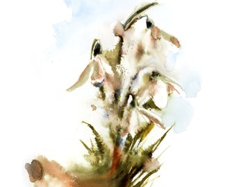 Lilies of the valley fine art print, abstract flowers watercolor painting art, modern botanical floral wall art print