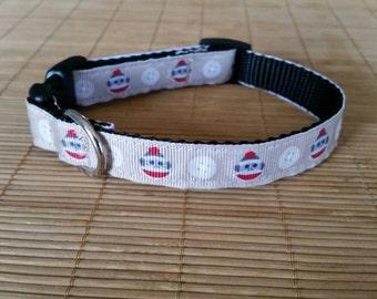 Sock Monkey Dog Collar, Funky Monkey Collar, 5/8 Inch, Sock Monkeys, Adjustable Collar, Handmade Dog Collar, Monkey Toy, Pet Collar, Monkey