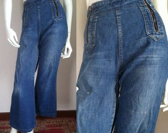 "Vintage 1970s Rappers Denim Flare Jeans, Waist 29"""
