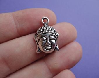 Silver Buddha Charm 6 pcs 23x15mm B007