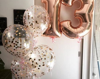 """Giant 34"""" Rose Gold Balloon Numbers/ Rose Gold Number Balloons/ XL Number Balloons/ Rose Gold Balloons/ Rose Gold Birthday Party"""