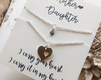 Mother and Daughter Bracelet Set, Mothers Day Gift, Mothers Heart Bracelet, Girls Bracelet, Gold Bracelet, Sterling Silver Heart Bracelet
