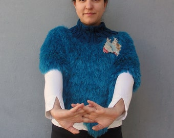 Waterfall Capelet Cowl Shawl Teal Blue Knitted Capelet with Floral Brooch Luxurious Accessory