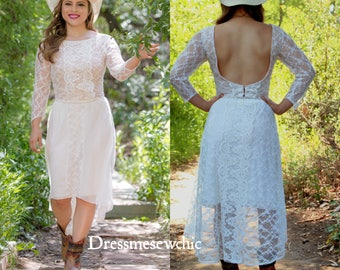 Size S (4), Country Wedding, Cowgirl Low Back Cut Out Crop Top, High Low Skirt, Bohemian Wedding, 2 Pcs Wedding Dress, Dressmesewchic