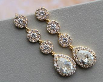 Art Deco Earrings, Wedding Earrings, Bridal Earrings, Zircon Wedding Jewelry, Crystal Teardrop Earrings, Bridesmaid Earrings, Gold Silver UK