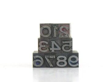 Letterpress Number Type / 24 pt / Numbers 0 - 9 / Complete Set