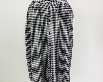 Vintage Gingham Below Knee High Waist Button Skirt with Pockets Size M/L c. 1985