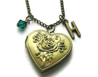 Rose Locket, Flower Locket, Bridesmaid Locket,Locket For Mom, Locket For Gramma, Locket For Friends, Birthstone Necklace, Personalized