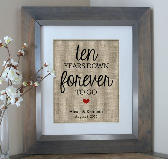 21st Wedding Anniversary Gifts For Her: Ten Years Down Burlap Print 10 Year Anniversary Gift Gift