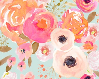 Blush Floral Fabric by the Yard - Baby Girl Nursery Pink Roses Mint Blooms Flowers, Floral Cotton Fabric by the Yard 6126338