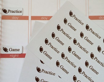 36 Football Game Practice Stickers, Fits Erin Condren Planner, Stickers, Game Stickers, Football