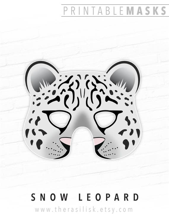 Printable Snow Leopard Mask White Leopard Mask Printable
