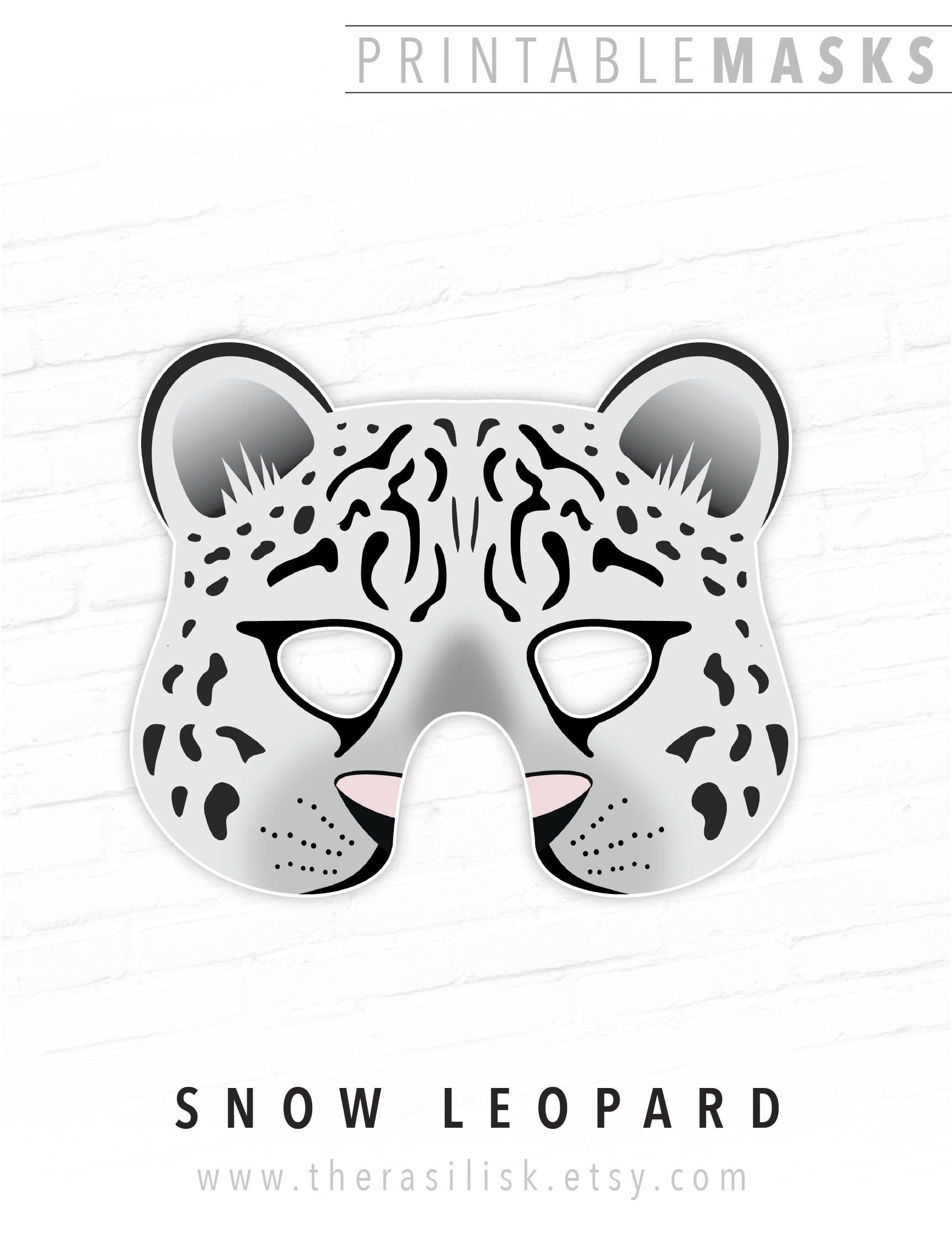 Printable Snow Leopard Mask White Leopard Mask Printable