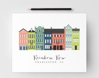 Rainbow Row Charleston Art Print; Charleston, SC Artwork