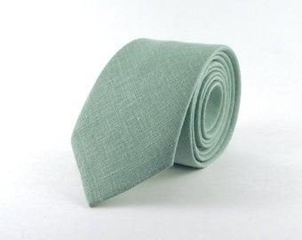 """Dusty Shale Tie, Men's Pale Blue Green J. Crew Inspired """"Dusty Shale"""" Linen Necktie"""