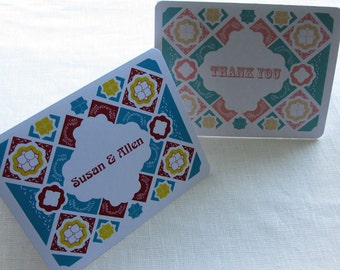 Mexican Talavera Tile Thank You Card - Note Card Gift Set of 10