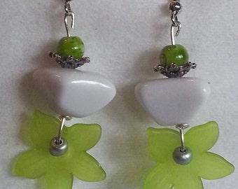 Lime green floral earrings