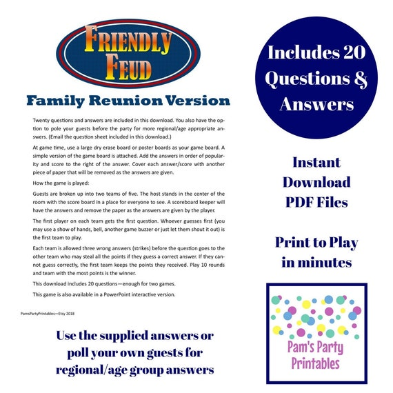Dramatic image with family feud printable