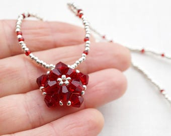 Mothers Day Gift Idea Delicate Beaded Crystal Necklace Red Flower Necklace Petite Sterling Silver Necklace Dainty Thin Necklace Gift of Love