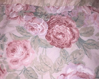 Vintage Springmaid Full Double Flat Sheet & 2 Pillowcases Pink Floral Lace USA