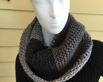 Black and Gray Chunky Cowl, Winter Cowl, Ribbed Cowl, Black and Gray Infinity Scarf, Wool Cowl, Knitted Cowl Neck Warmer