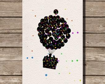 Up watercolor illustrations art children's room wall art art home decor nursery art pixar
