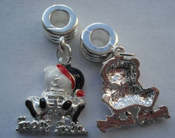 32mm European Style Large Hole Charms, Plated Enamel Christmas Dangle Bead Charms, Pair of Christmas Teddy Charms, C475