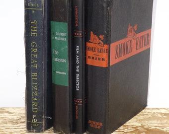 Black book decor,set of 4,mid century novel,black book bundle,1940s,book decoration,instant library,old black books,collection