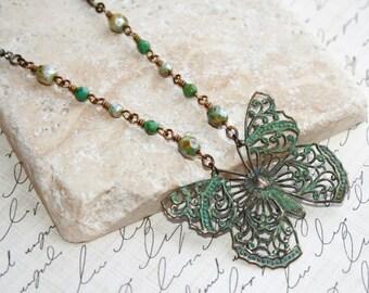 Verdigris Butterfly necklace, Patina necklace, Verdigris jewelry, Butterfly Jewelry, Rhinestone chain