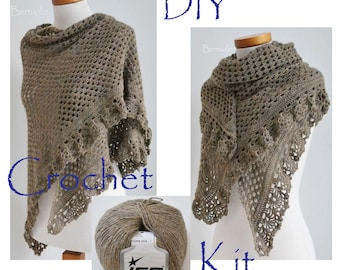 DIY Crochet Kit, Crochet shawl kit, ASHLEY, Camel, light brown, yarn and pattern