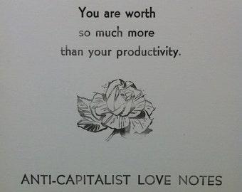 bundle sale: three productivity postcards (anti-capitalist love notes)
