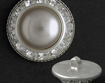 20mm Rhinestone Pearl Button with Shank by each, Silver, Gold,  T1336B