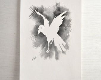 Ink Wash Original Painting with a Crow Silhouette