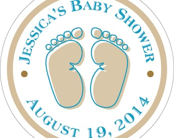 Personalized Glossy Baby Feet Baby Shower Stickers - many designs to choose from - can change colors, wording, etc. BR-014