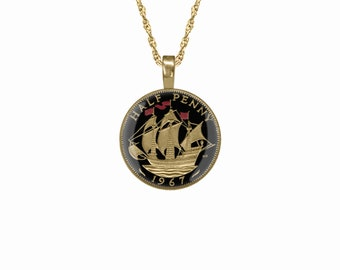 British UK Ship Halfpenny Pendant Enamelled & Gold Plated