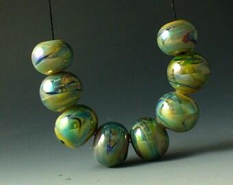 Lampwork beads/SRA lampwork/beads/Double Helix/silver glass/butterfly/